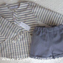 Conjunto niño rayas gris azulado Piuma de EVE CHILDREN, verano 2018