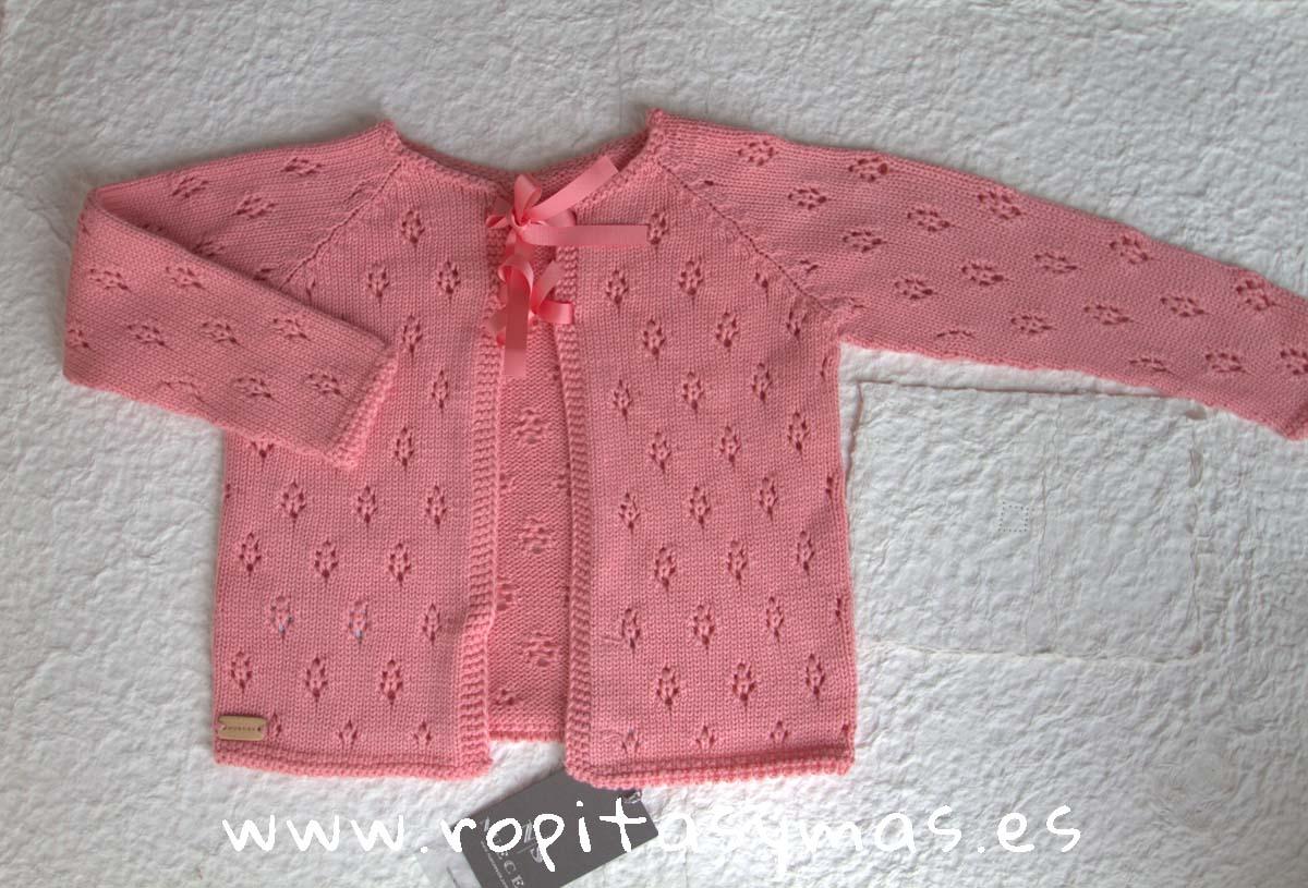 Chaqueta jersey con lazo ROSA CLARO de NUECESKIDS