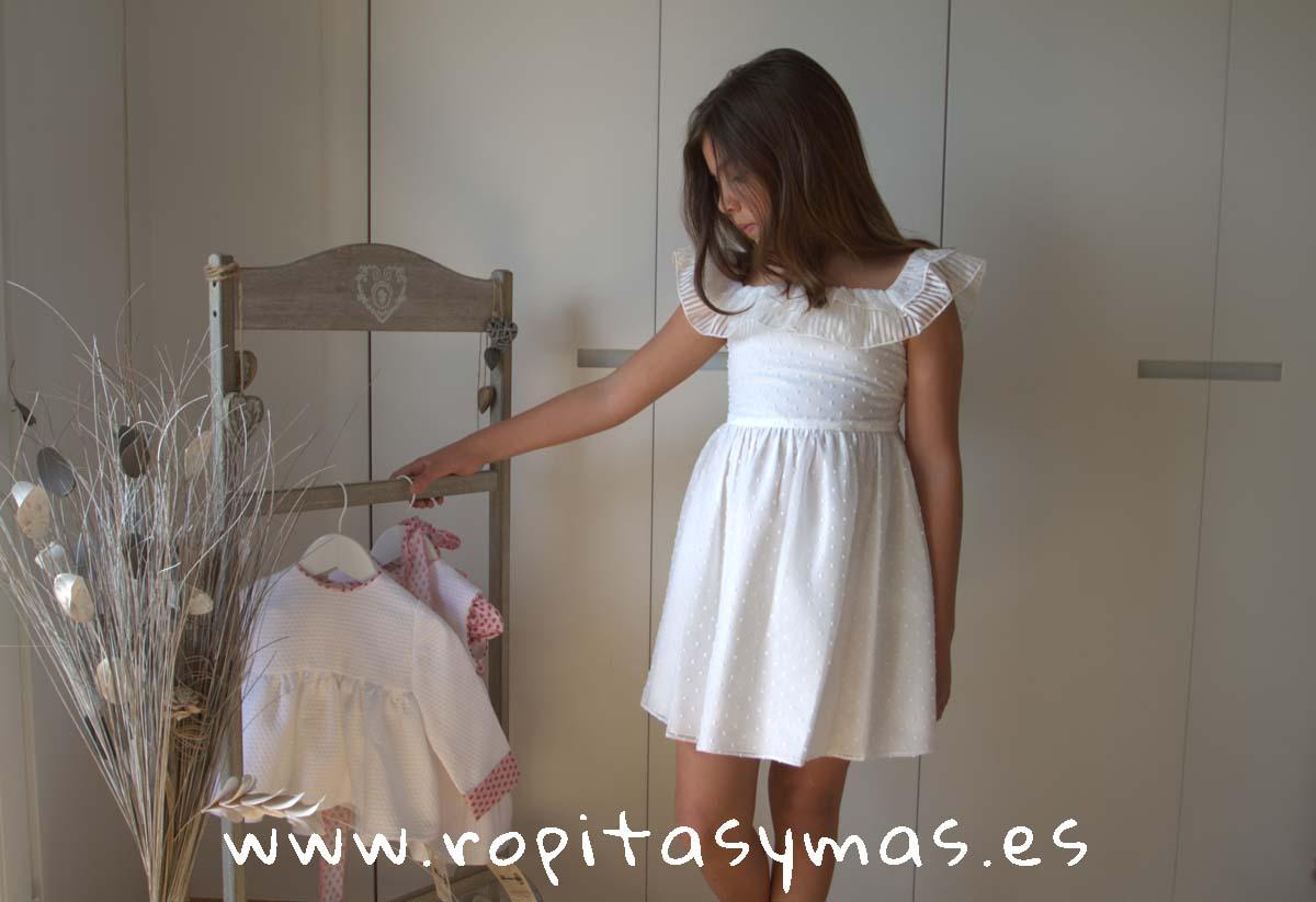 Vestido SEVILLA PLUMETI blanco de NUECESKIDS
