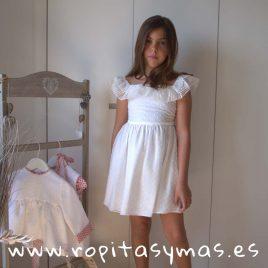 Vestido SEVILLA PLUMETI blanco de NUECESKIDS, verano 2018