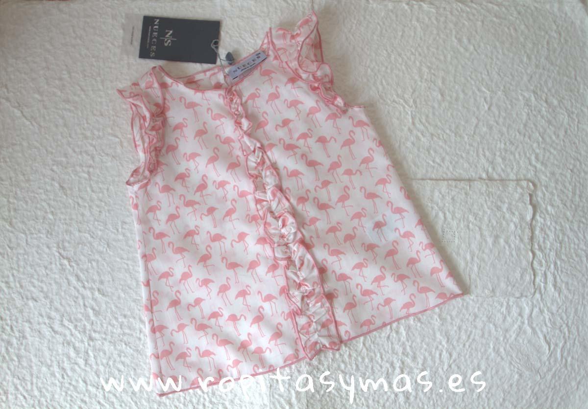 Camisa FRUNCE ROSA FLAMENCO de NUECESKIDS