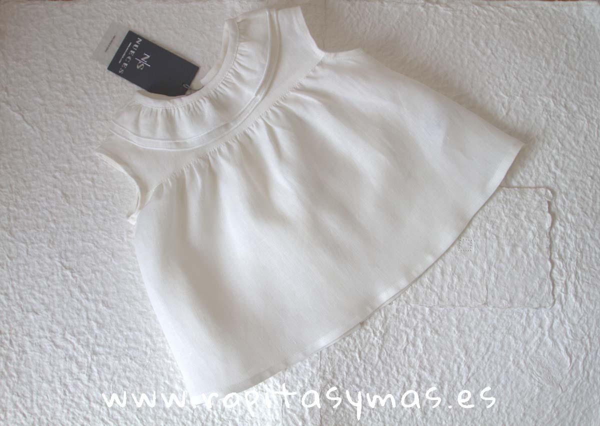Camisa DOBLE CUELLO LINO CRUDO de NUECESKIDS
