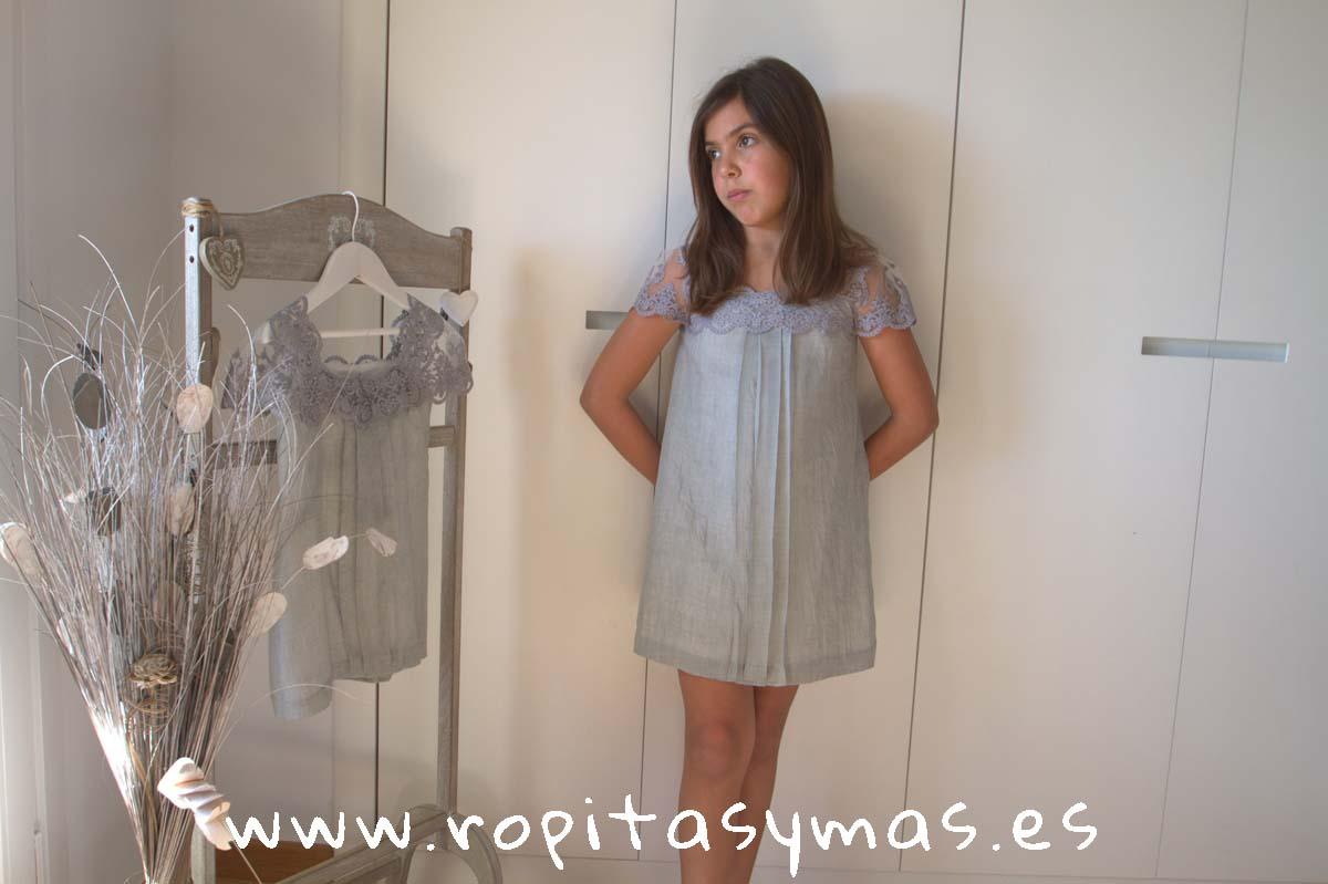 Vestido SANTORINI GASA PERLA de NUECESKIDS
