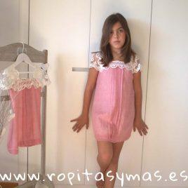 Vestido SANTORINI GASA rosa de NUECESKIDS, verano 2018