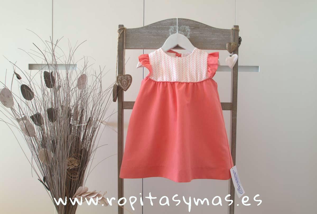 Vestido coral pechera de Ancar