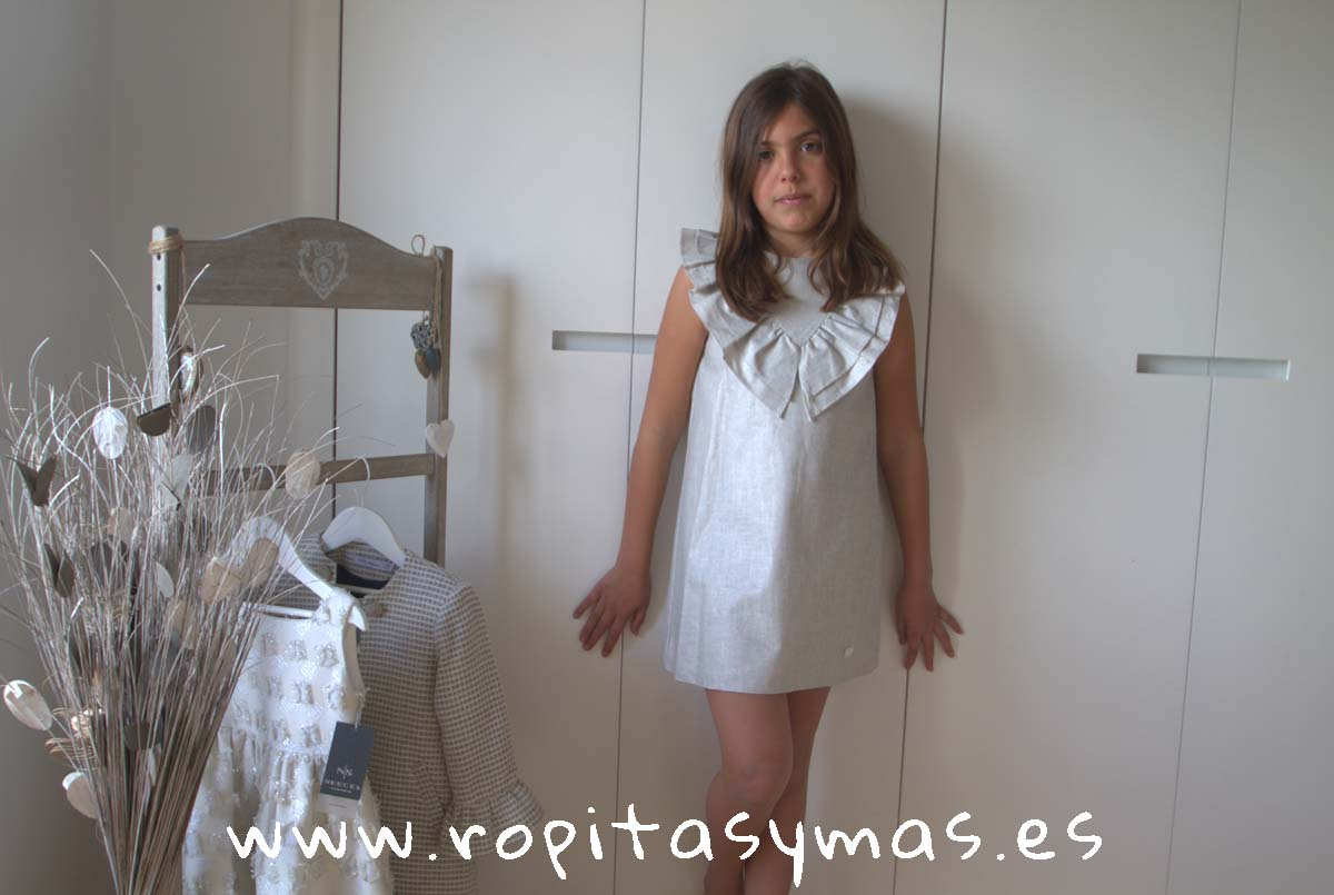 Vestido doble cuello entramado gris plata TULLER de EVE CHILDREN