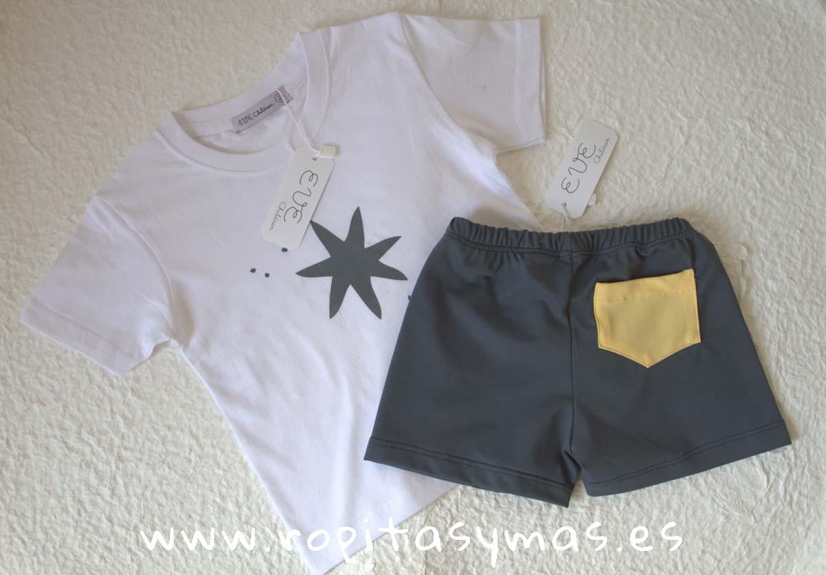 Boxer de lycra gris azulado y Camiseta blanca estrella gris azulada de EVE CHILDREN