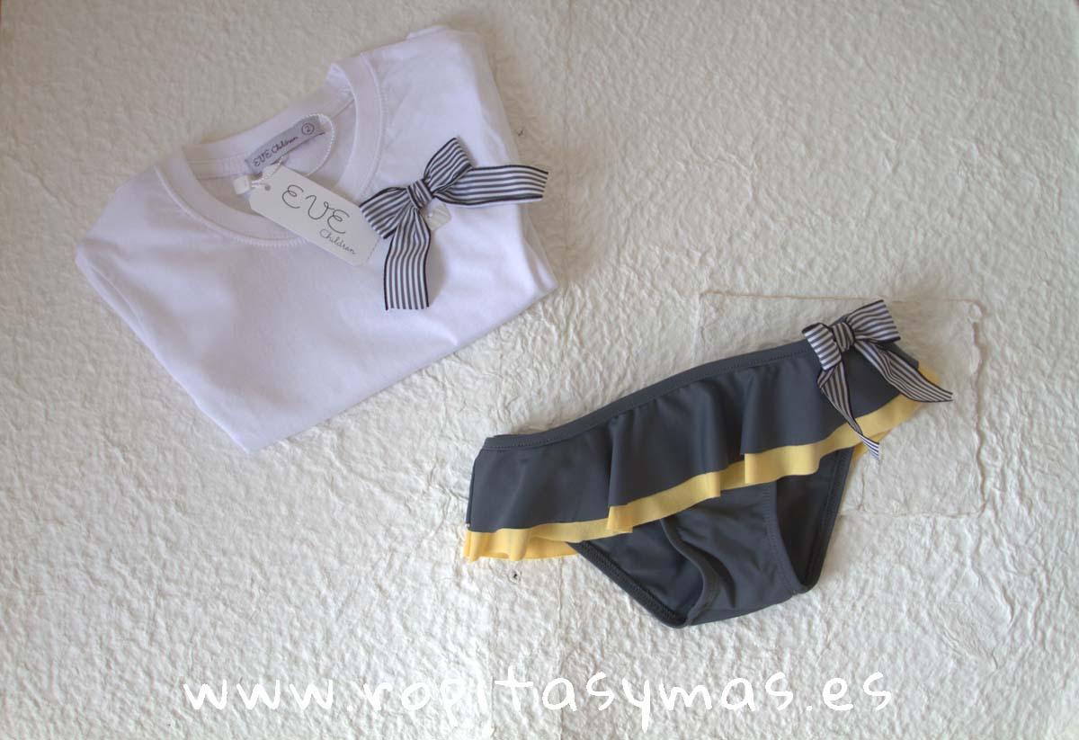 Culetín gris y amarillo volantes y Camiseta lazo rayas de EVE CHILDREN