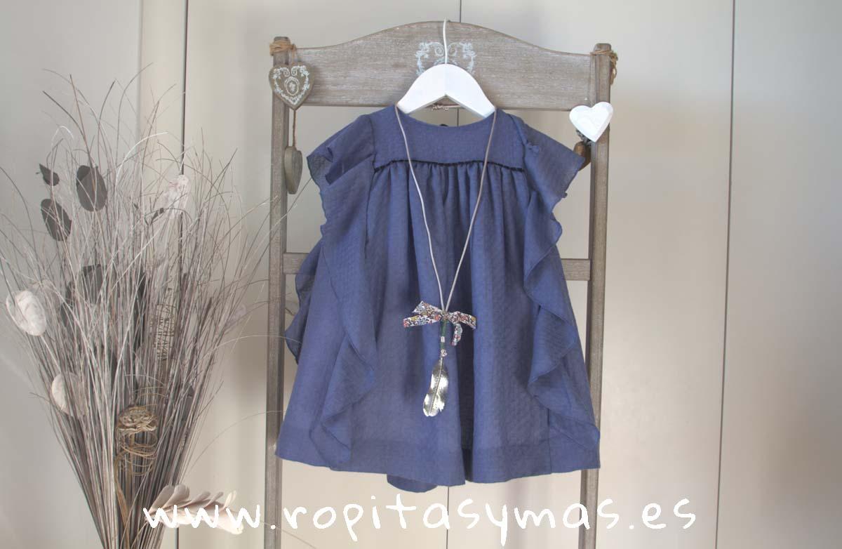 Vestido azul volante de MIA YLIA