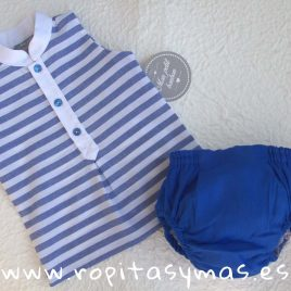 Camisa sin mangas mao marinera rayas azules de MON PETIT BONBON, verano 2018