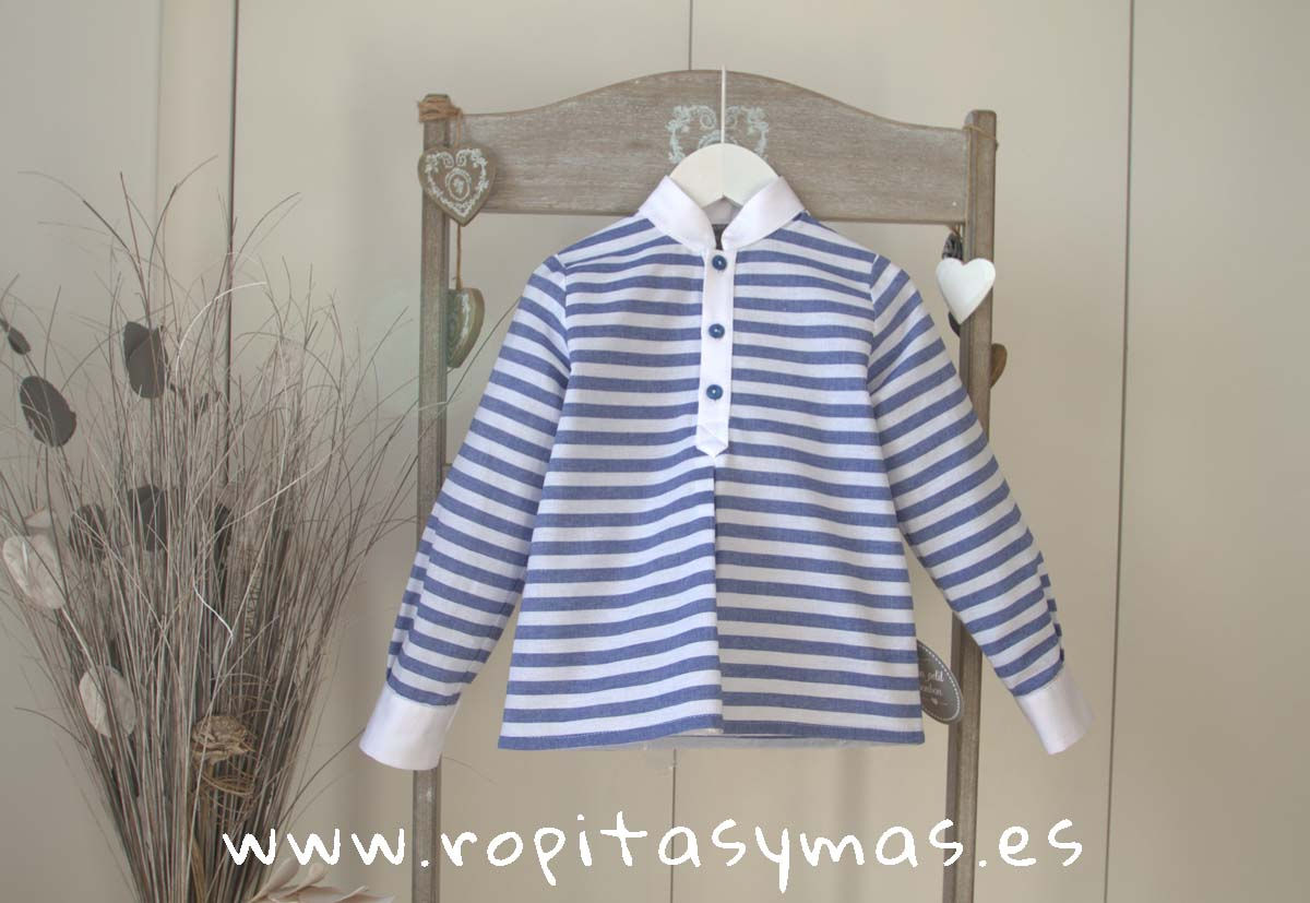 Camisa mao marinera rayas azules de MON PETIT BONBON