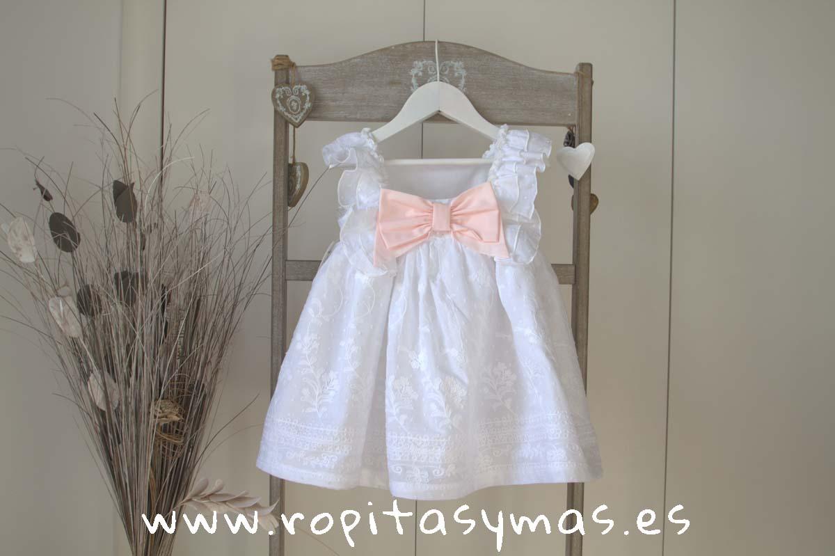 Vestido blanco bordado de MON PETIT BONBON