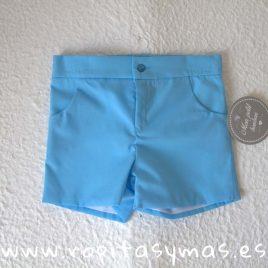 Pantalón corto turquesa  de MON PETIT BONBON, verano 2018