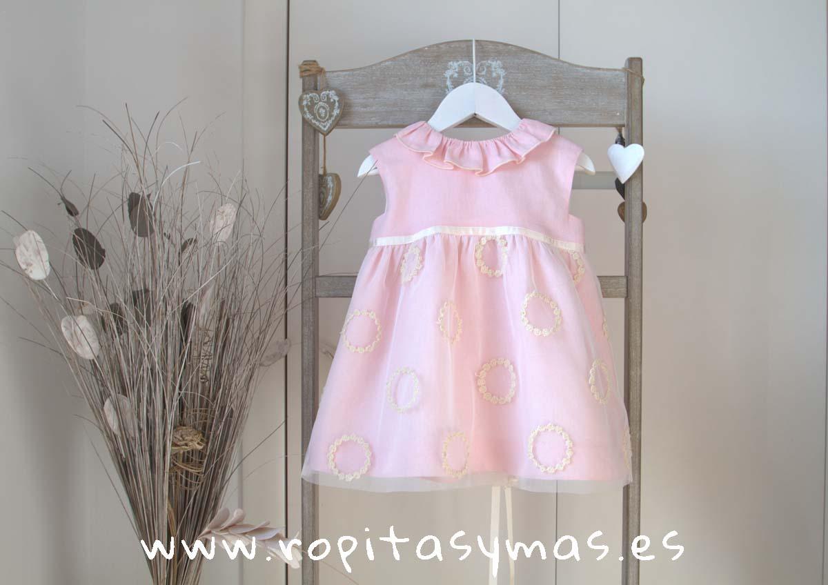 Vestido TUL BORDADO ROSA LINO de NUECESKIDS