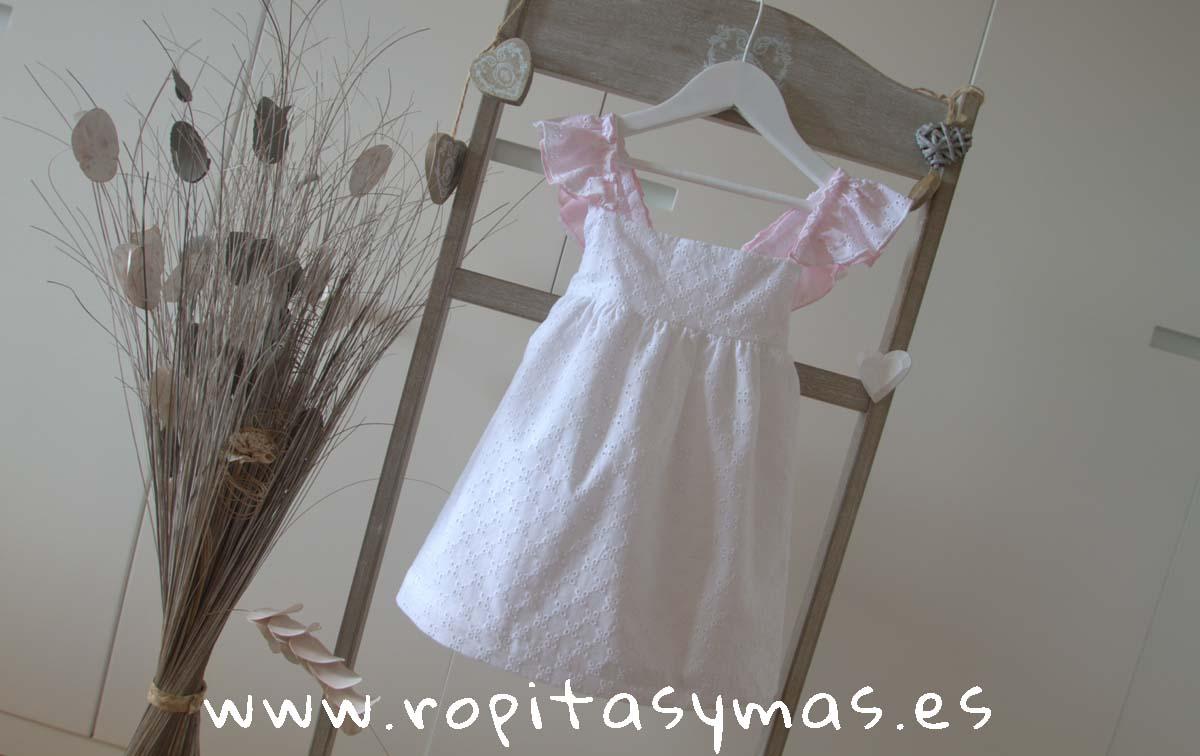 Vestido blanco perforado lazo SUGAR de MAMI MARIA