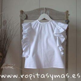 Blusa blanca VOLANTES de MIA Y LIA, verano 2019