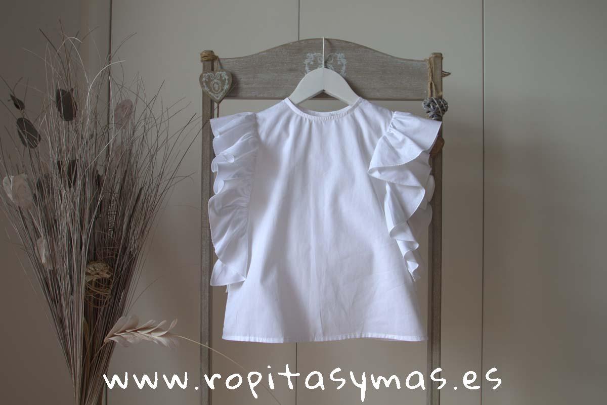 Blusa blanca VOLANTES de MIA Y LIA