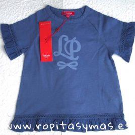 Camiseta azulada volante logo LION OF PORCHES niña, verano 2018