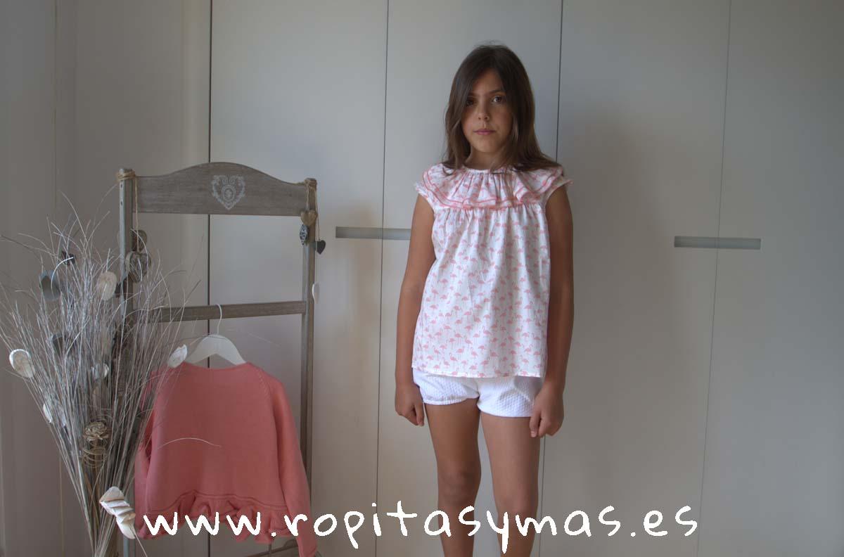 Camisa DOBLE CUELLO ROSA FLAMENCO de NUECESKIDS