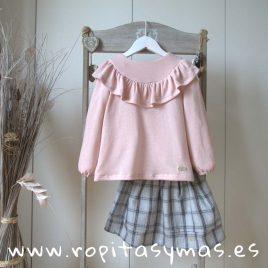 Conjunto falda cuadros gris y rosa  MOUNTAIN de EVE CHILDREN, invierno 2018