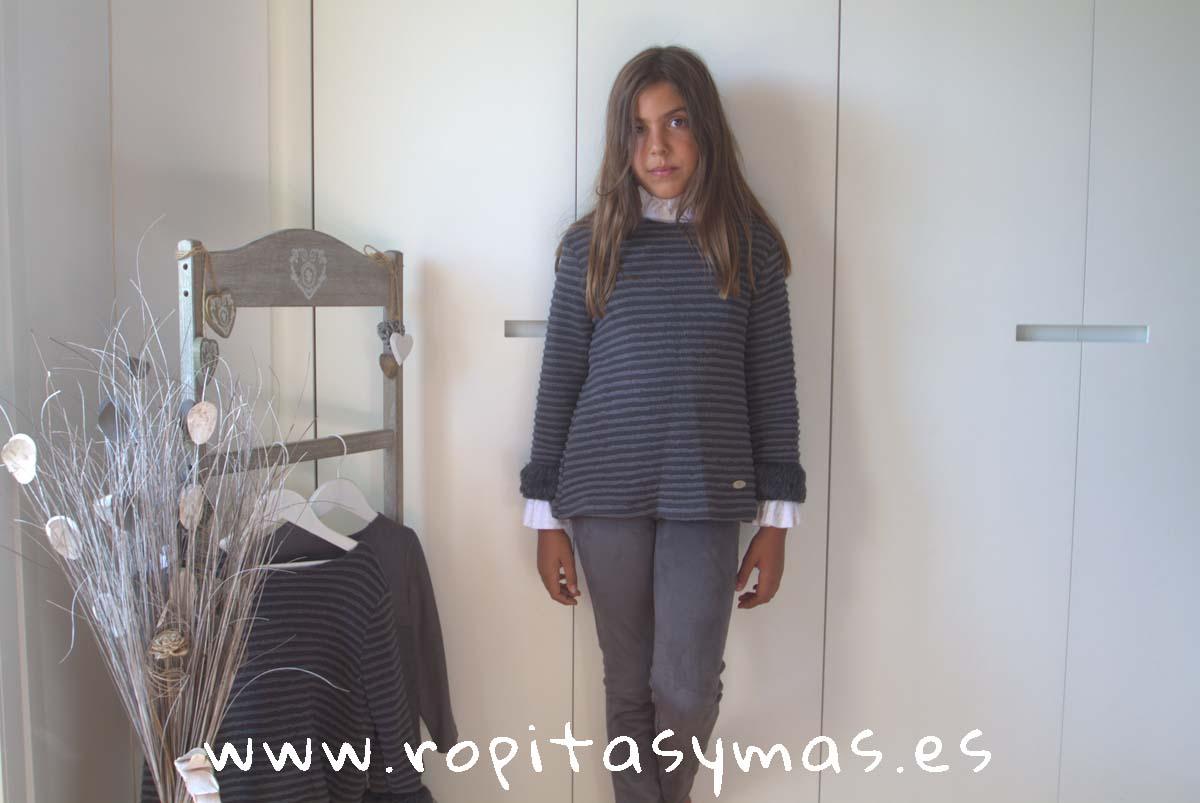 Jersey rayas grises pelo TEEN de EVE CHILDREN
