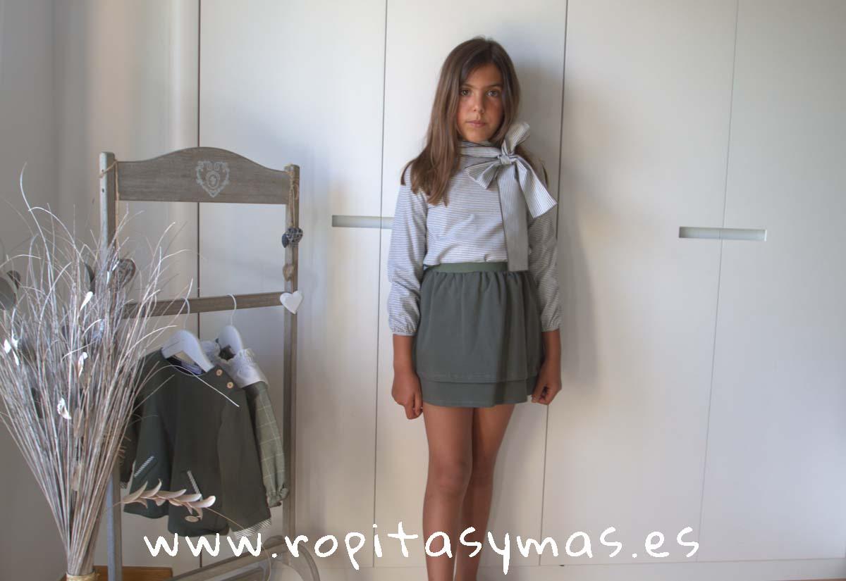 Conjunto falda verde rayas FOREST de EVE CHILDREN