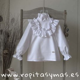 Blusa blanca collar DOTS de EVE CHILDREN, invierno 2018