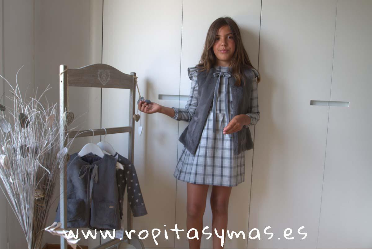 Vestido volantes cuadros grises y chaleco gris MOUNTAIN EVE CHILDREN