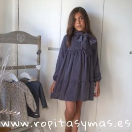 Vestido gris azulado lazo TEEN de EVE CHILDREN, invierno 2018