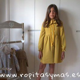 Vestido capelina mostaza SPIKE EVE CHILDREN, invierno 2018