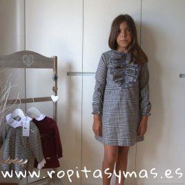 Vestido volantes cuadro gales gris y granate DOTS EVE CHILDREN, invierno 2018