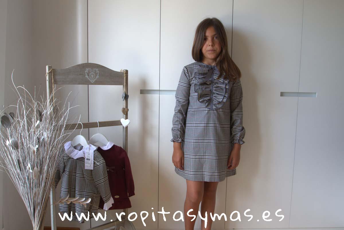 Vestido volantes cuadro gales gris y granate DOTS EVE CHILDREN