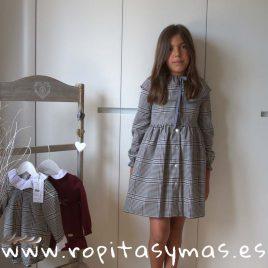 Vestido capelina cuadro gales gris y granate DOTS EVE CHILDREN, invierno 2018