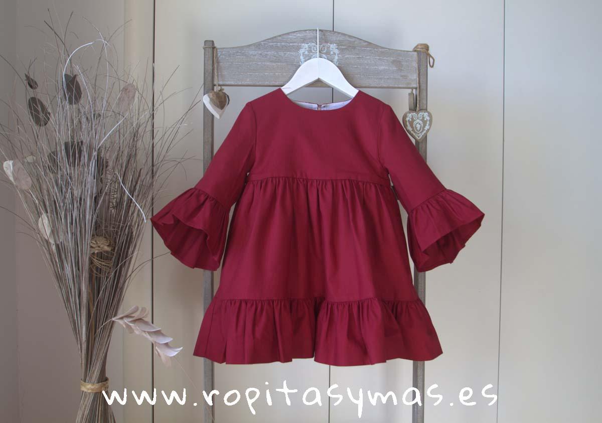 Vestido viella granate FABIOLA de NUECESKIDS