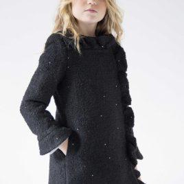 Abrigo lana negro y dorado VIOLETA de NUECESKIDS, invierno 2018