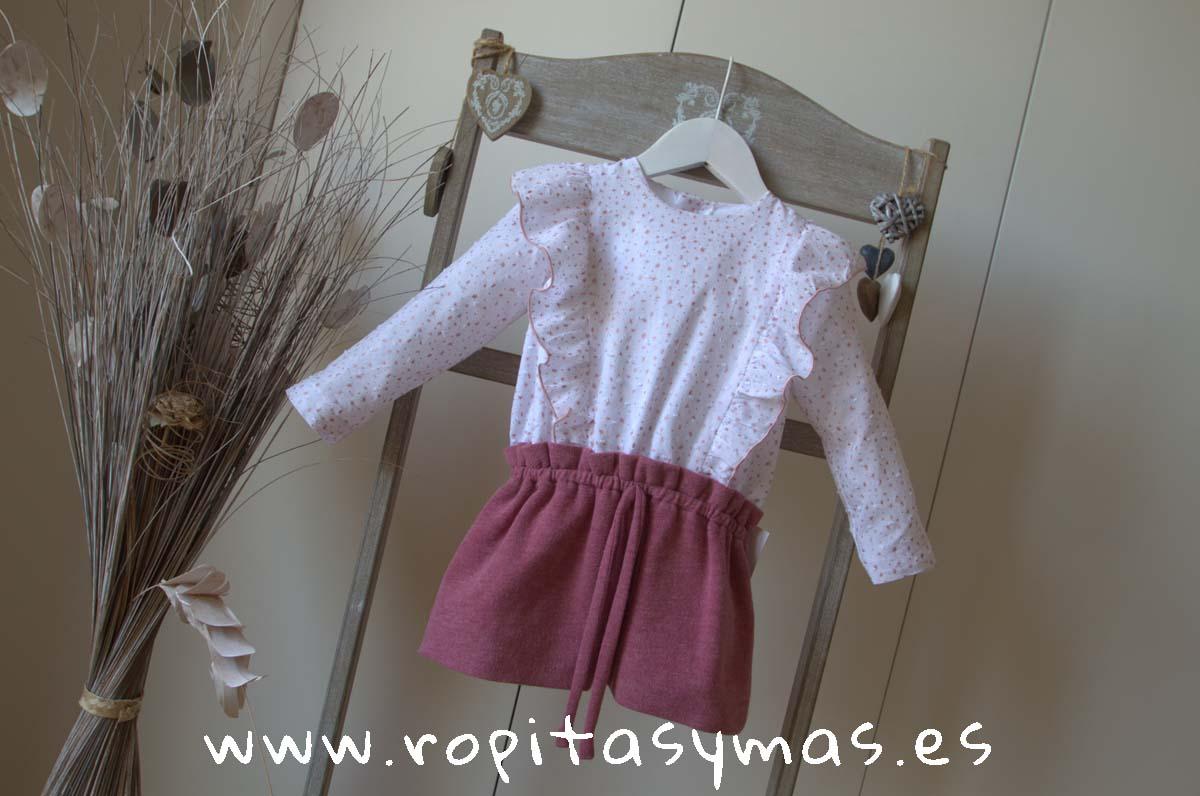 Vestido camisero punto flameado rosa empolvado de Ancar