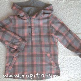 Camisa capucha cuadros grises y rosas de Ancar, invierno 2018