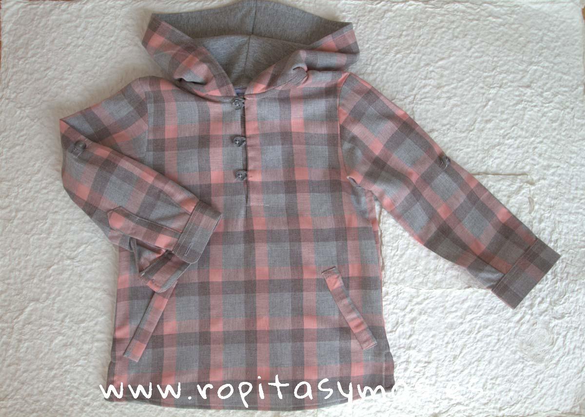 Camisa capucha cuadros grises y rosas de Ancar