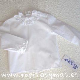 Camisa bebe blanca cuello alzado volante de  ANCAR, invierno 2018