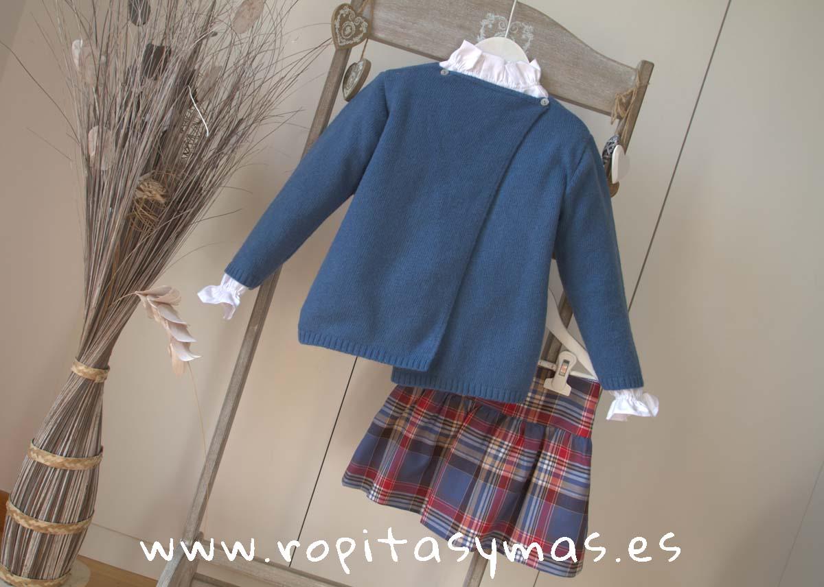 Chaqueta larga azulona cruzada y Falda cintura ancha escocesa Ancar