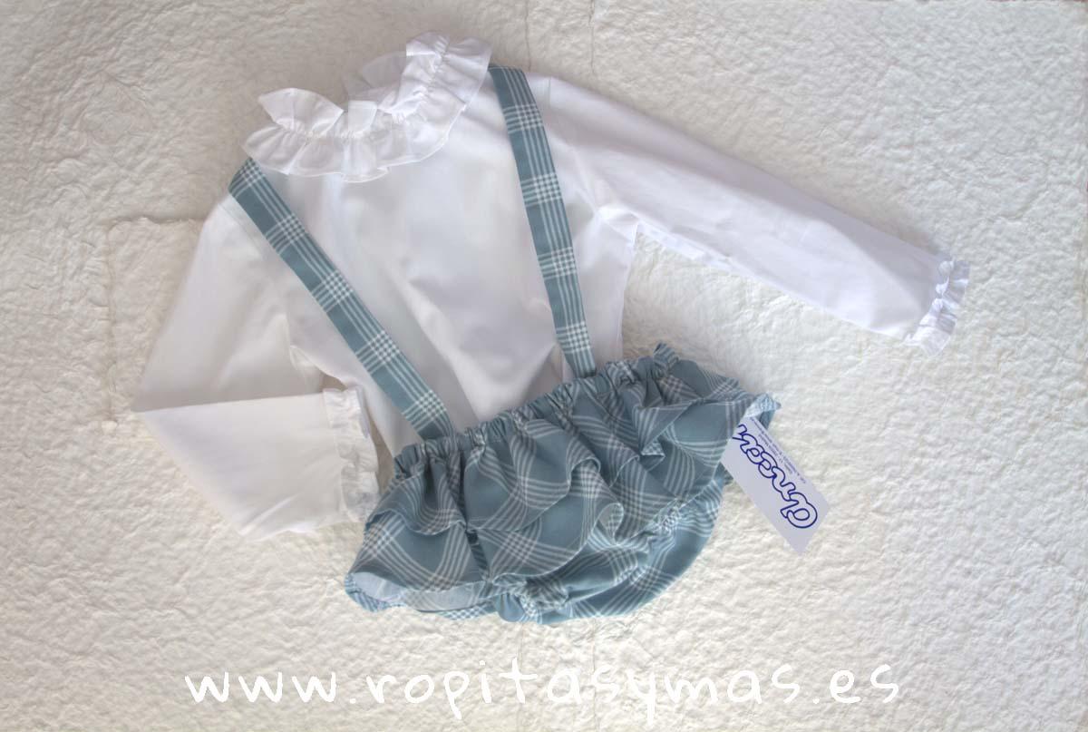 Ranita tirantes cuadros verde cerceta y Camisa bebe blanca cuello alzado volante de ANCAR