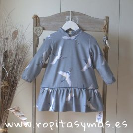Vestido charleston faisanes azul grisáceo  de ANCAR, invierno 2018