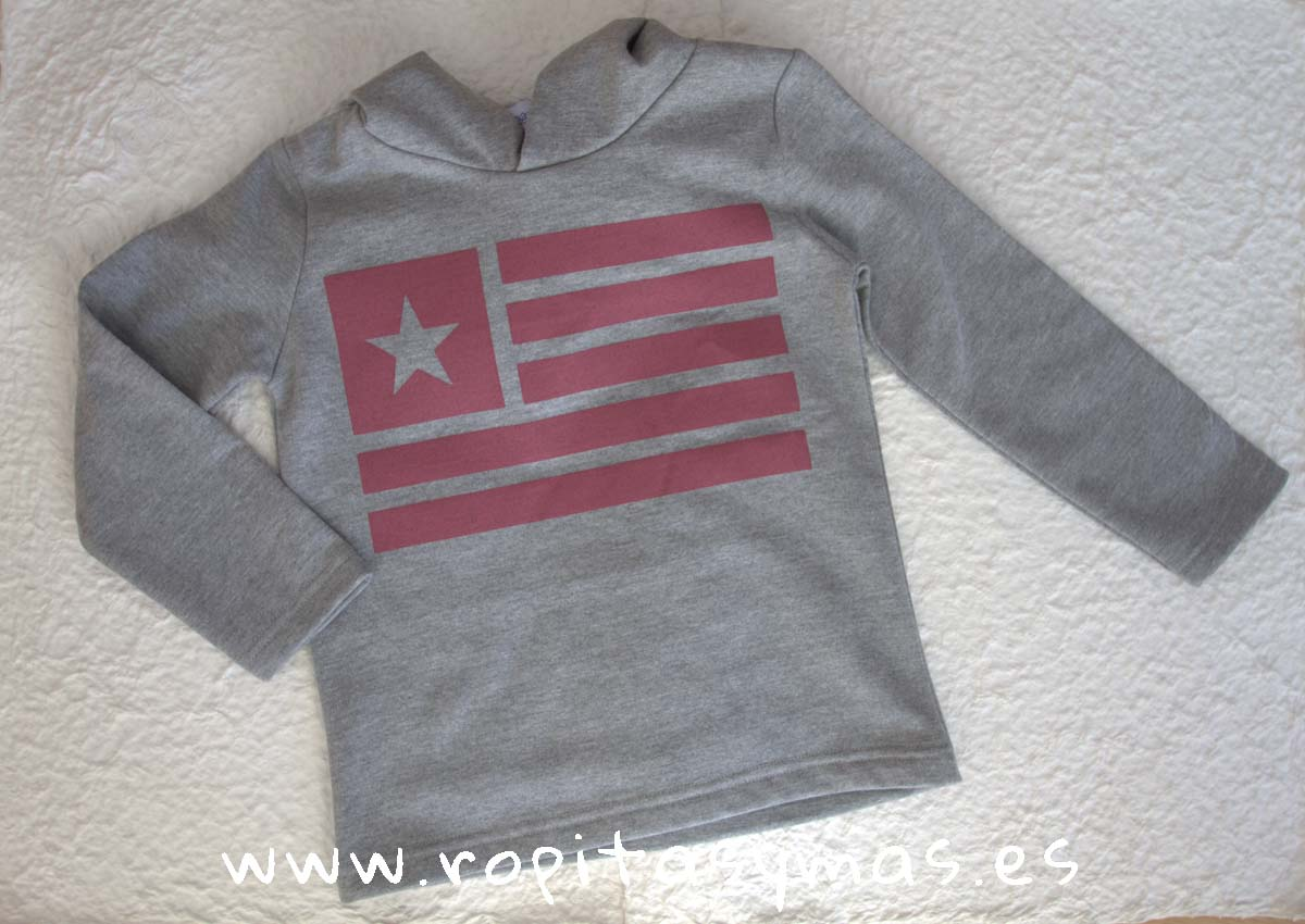 Sudadera gris capucha bandera berenjena de Ancar