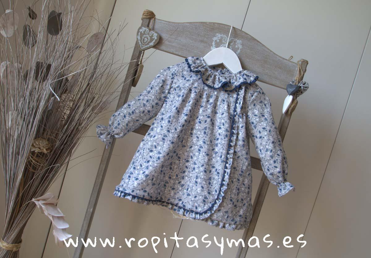 Faldón floral gris azulado de Ancar