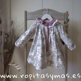 Vestido doble cuello flores berenjena de ancar, invierno 2018
