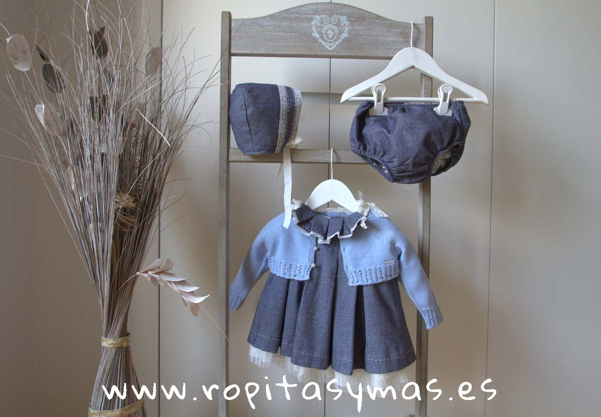 Jesusito espiga jeans y Chaqueta corta azul niña CLASSIC de KAULI