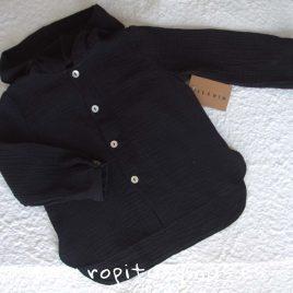 Camisa capucha bambula negra de MIA Y LIA, invierno 2019