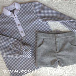 Camisa mao cuadro gris de MON PETIT BONBON, invierno 2018