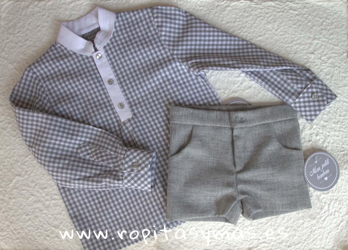 Camisa mao cuadro y Pantalón corto franela gris de MON PETIT BONBON