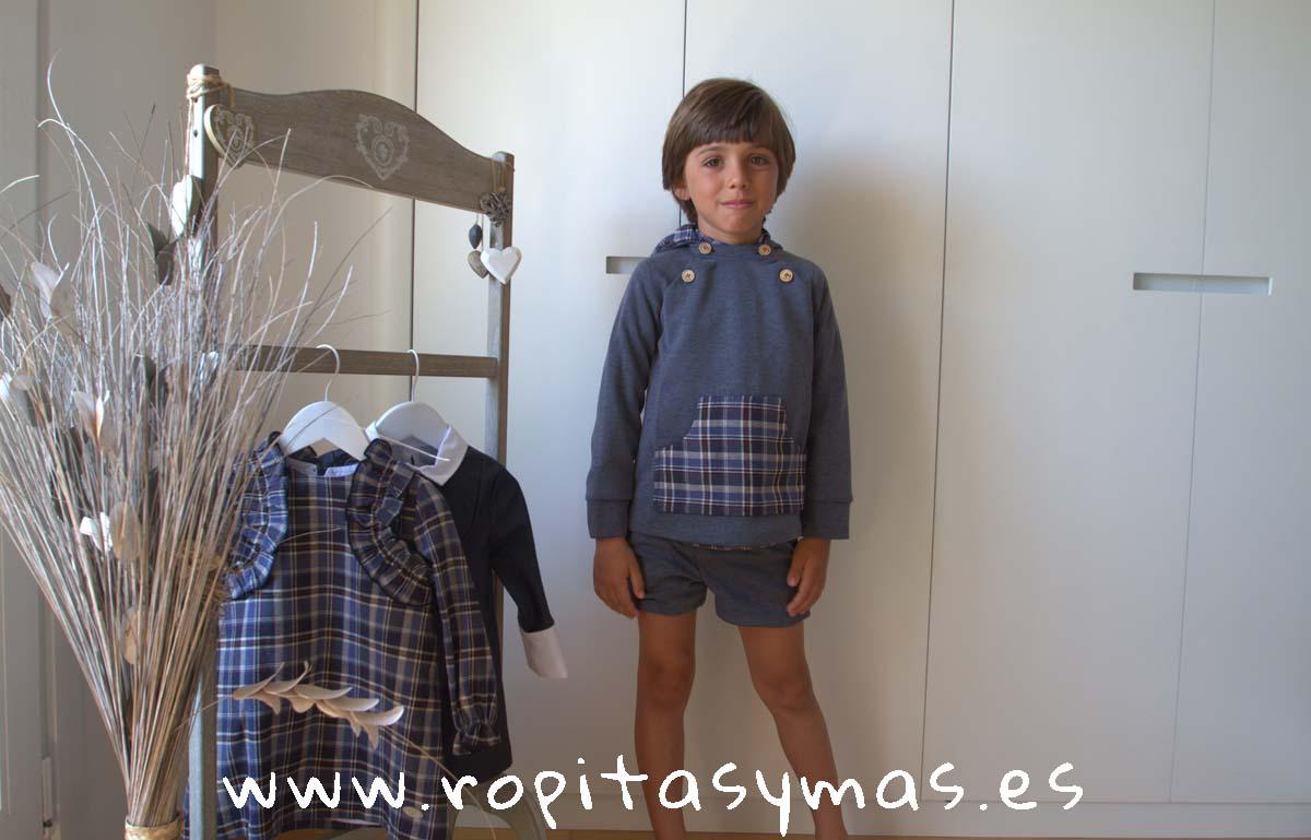 Sudadera capucha gris y cuadros y Conjunto niño cuadros azules OCEAN de EVE CHILDREN